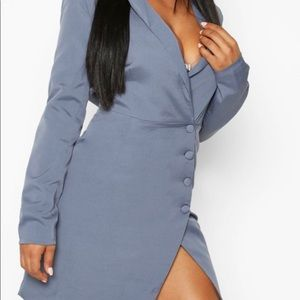 Booho Blue asymmetrical blazer dress